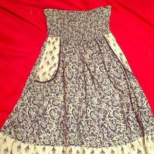 Strapless paisley dress